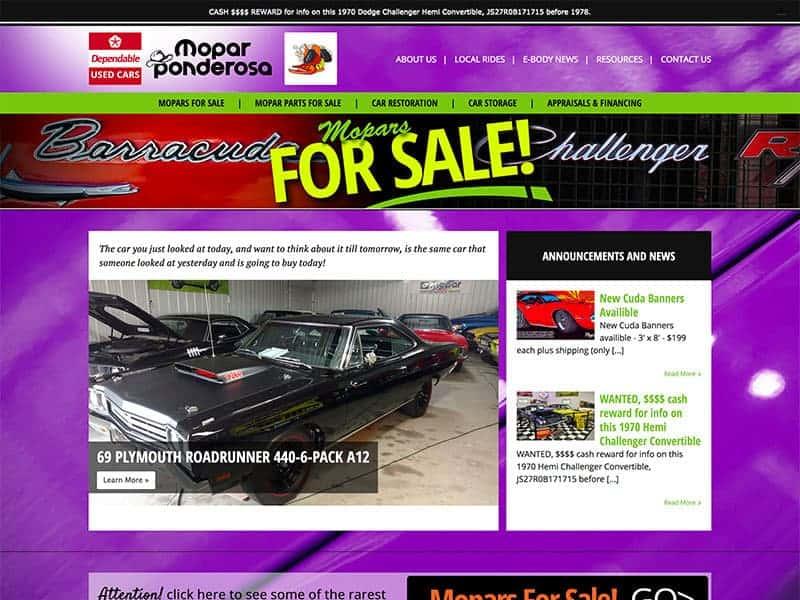 Website Launch Mopar Ponderosa Vision Design