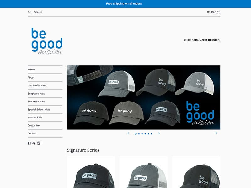 E-Commerce Website Design - Be Good Hats
