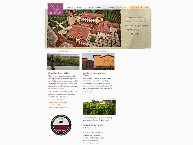 Old Villa Bellezza Website