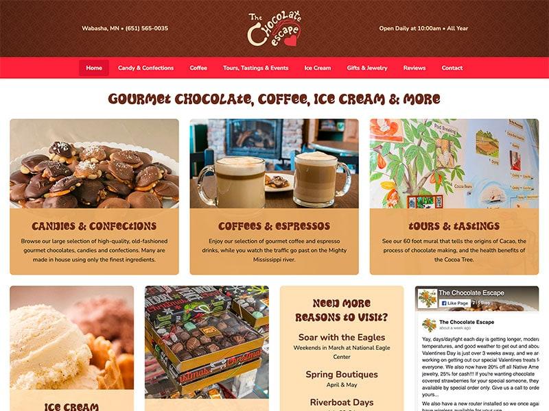 Consumer Website Design - Chocolate Escape