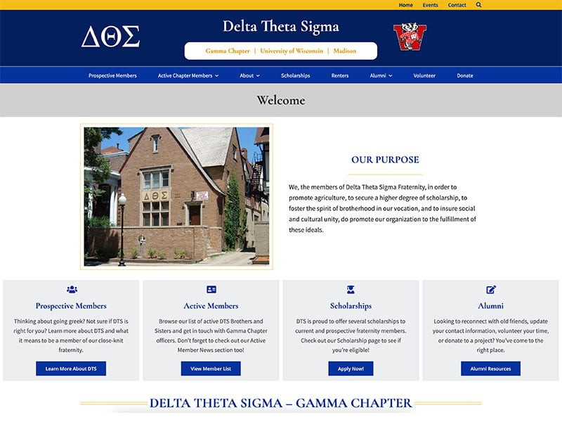 Club Website Design - Delta Theta Sigma