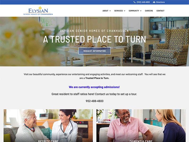 Senior Living Website Design - Elysian of Chanhassen