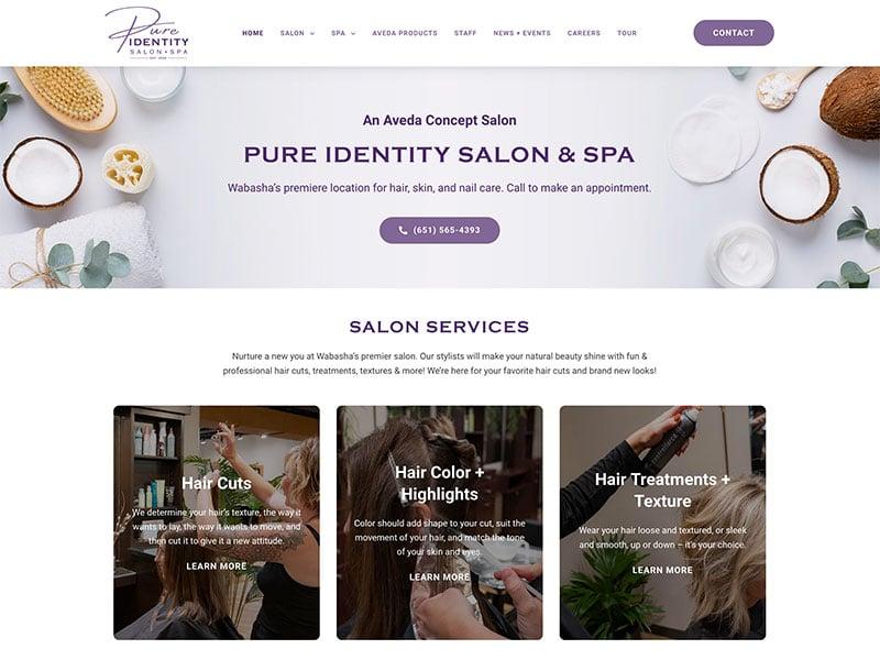Professional Service Website Design - Pure Identity Salon & Spa