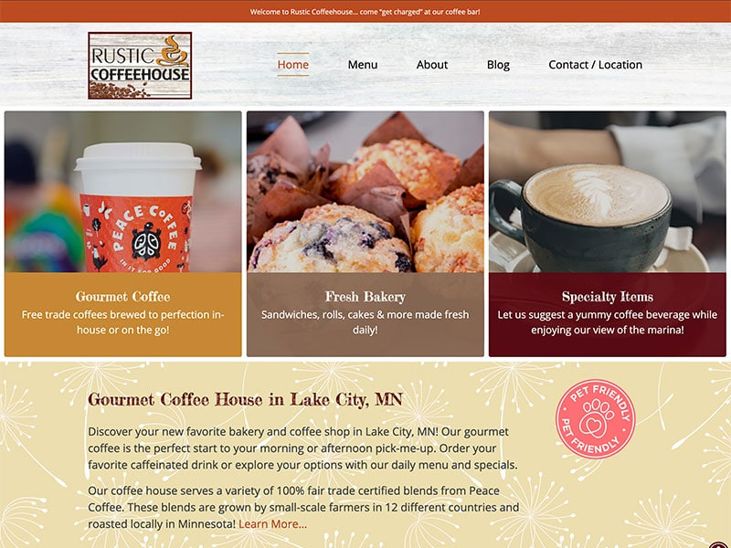 Cafe Website Design - Rustic Coffeehouse