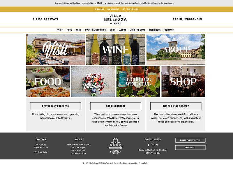 Winery Website Design - Villa Bellezza Winery