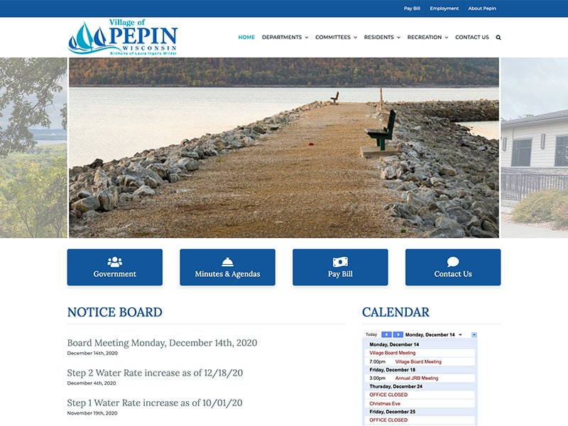municipal website design - Village of Pepin