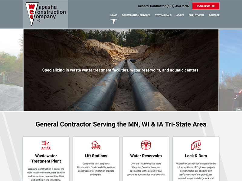 Construction Website Design - Wapasha Construction