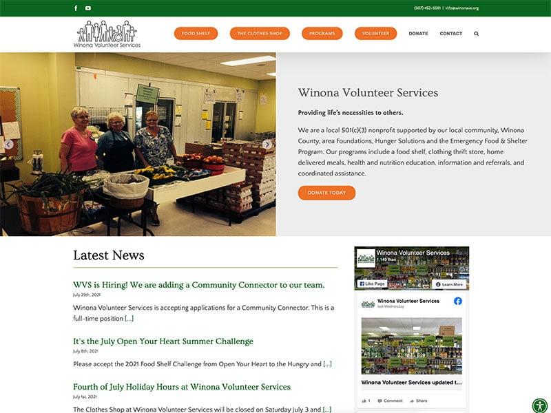Non-Profit Website Design - Winona Volunteer Services